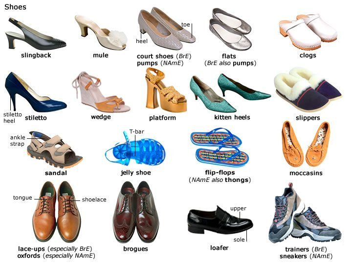 Các loại giày trong tiếng Anh