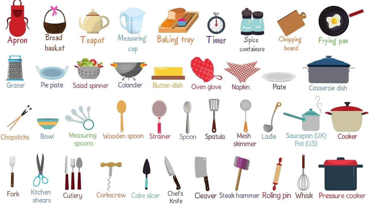 Từ vựng tiếng anh các dụng cụ trong nhà bếp